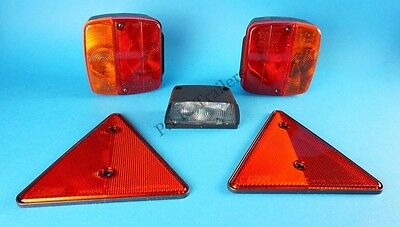 AJBA Light Set FP11 & Number Plate Lamp & Reflectors for Erde & Daxara Trailer