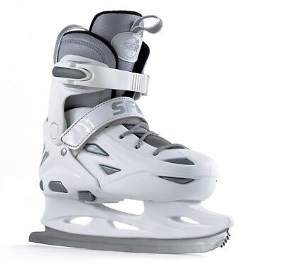 SFR Eclipse Girls Adjustable Hard Boot Figure Bladed Ice Skates White Grey