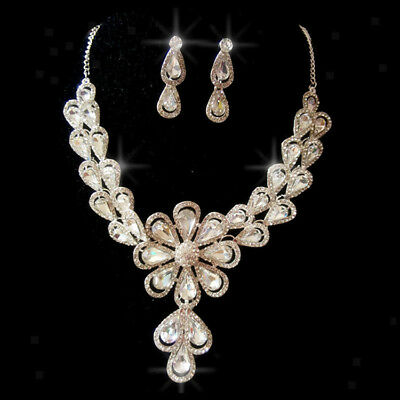 Hot Prom Wedding Bridal Crystal Rhinestone Necklace Earring Jewelry Sets