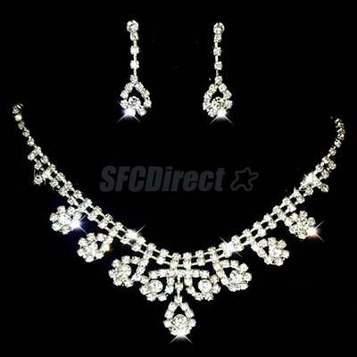 Diamante Wedding Prom Bridal Jewelry Crystal Rhinestone Necklace Earring Set