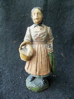 Vtg Old Woman with Umbrella & Basket! 4 IN!  MARKED EASTERN!  METAL HANDLE TIP