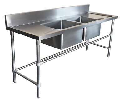 2200x600mm COMMERCIAL DOUBLE BOWL KITCHEN SINK #304 STAINLESS STEEL BENCH