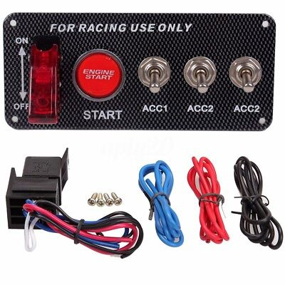 Car On-Off Racing Ignition Engine Start Push Button LED Toggle Switch Dash Panel
