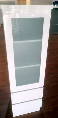 1350mm Frosted Glass Door Bathroom Tallboy with Drawers