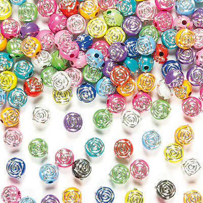 Rose Sparkle Beads for Children for Crafts and Jewellery Making (Pack of 400)