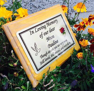 Solid Wooden Memorial Stake Grave//Tree Marker Cremation Personalised Plaque Dad