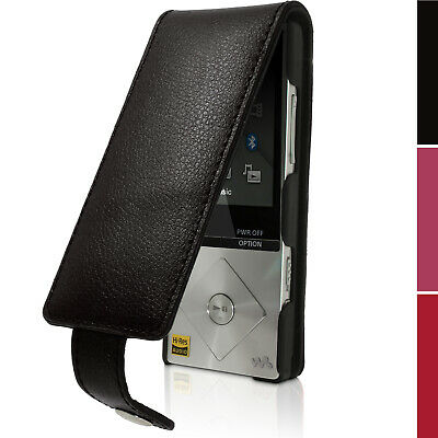 Black Leather Skin Flip Case Cover for Sony Walkman NW-A25 A27 Screen Prot