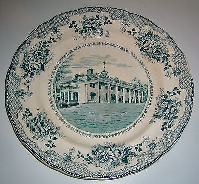 ANTIQUE EARLY BUFFALO POTTERY SIGNED MT. VERNON BLUE TRANSFERWARE PLATE c1903