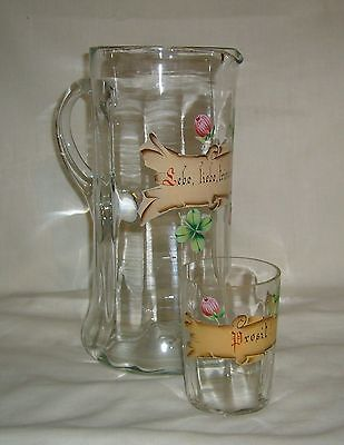 Antique Sebe Germany Hp Glass Tankard & Tumbler W/ Love & Drink Enthusiastically