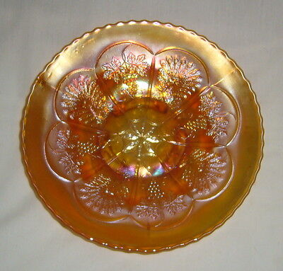 "Antique Fenton Carnival Glass Marigold Peacock & Grape Spatula Footed 9"" Plate"