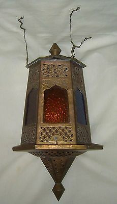 Antique Victorian Filigree Metal Multi Colored Glass Hexagon Candle Lamp Fixture