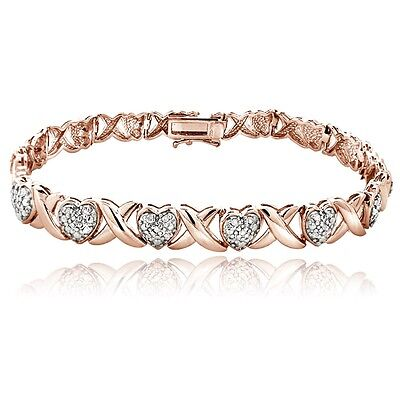 18K Rose Gold Plated Brass 0.50Ct TDW Diamond X & Heart Bracelet