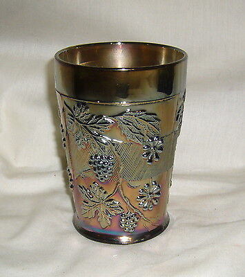 Antique Fenton Electric Blue Carnival Glass Floral & Grape Tumbler