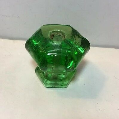 "Depression Green Antique Glass Drawer Cabinet Pull Knob Handle- 6-Side 1.5""x1.5"""