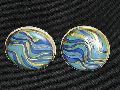 EXQUISITE VINTAGE 60's ESTATE ABSTRACT ART CERAMIC EARRINGS ~ 1.25""