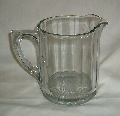 """Antique Heavy Paneled Sanitary Glass Milk, Water 6"""" Table Service Pitcher"""