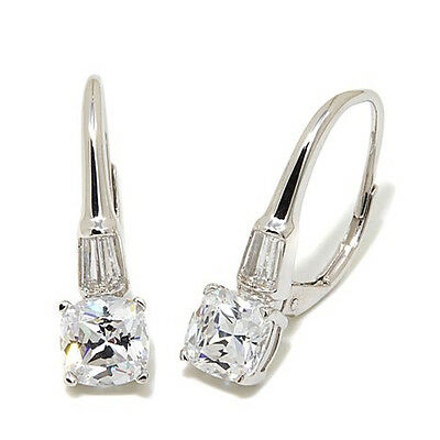 2.2ct D/VVS1 Cushion and Baguette Drop Earrings In 14K White Gold Finish