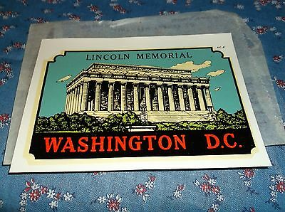 Vintage Dip Decal Washington D. C. Lincoln Memorial  Windshield Luggage