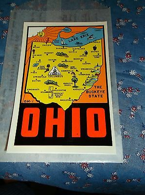 Vintage Dip Decal Ohio The Buckeye State Map  Windshield Luggage
