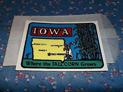 Vintage Dip Decal Iowa Where the Tall Corn Grows Map  Windshield Luggage