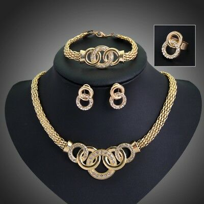 African Gold Plated Jewelry Sets Fashion Women wedding Alloy Necklace Set