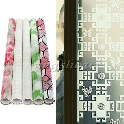 45*90cm Waterproof Privacy Glass Window Film Flower Frosted Stained Sticker PVC