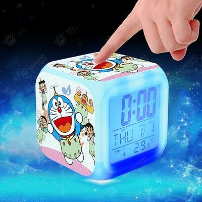 Japanese Anime New Doraemon Seven Color Change Glowing Alarm ClocK