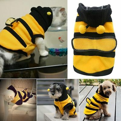 HOT Pet Dog Cat Puppy Warm Hoodie Coat Cute Bee Costume Apparel For Small Dog