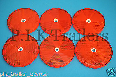 FREE P&P* 6 x XL 80mm RED Reflectors Driveway Gate Fence Posts & Trailers