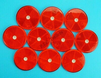 10 x XL 80mm RED Reflectors Driveway Gate Fence Posts & Trailer Horse Box