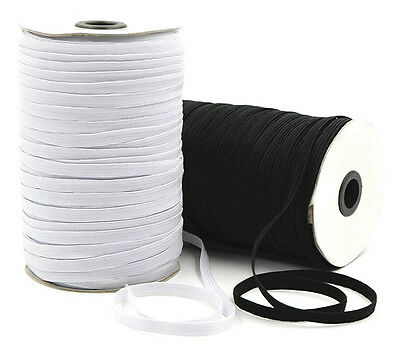 Elastic 12 Cord Flat, 10Mm Wide, Available In Black Or White & Different Lengths