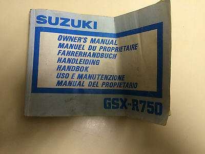 Suzuki Gsxr750 K 1988 Genuine Owners Manual Handbook 99011-17C51-042