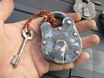 """Old Steel Padlock Brass Keyhole Cover """"Jainson"""" Indian Lock Makers Dated 90's"""