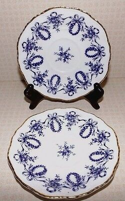 Coalport QUEENSBURY Blue Rope Edge Set of 2 Saucers ONLY