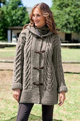 Chunky Ladies Cable Duffle Coat With Hood  S/XL Sizes   Knitting Pattern