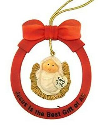Jesus is the Best Gift of All Infant Christ Nativity Ornament with Bow, 4 Inch
