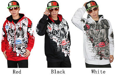New Mens hip hop graffiti Printing Zipper Hoodie Cotton Sweater Sweatshirt a53e7131b7a