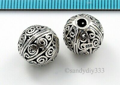 1x OXIDIZED BALI STERLING SILVER FILIGREE ROUND SPACER BEAD 12.8mm N400