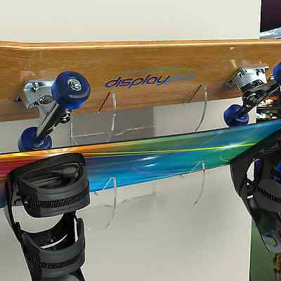 Acrylic Wall Mounted Bracket For Skateboards, Snowboards, Wakeboards, Kiteboards