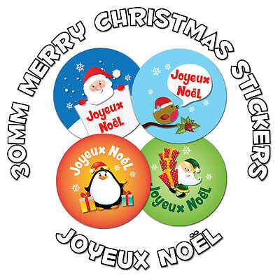 48 x 30mm Stickers - 'Joyeux Noël' - French language Merry Christmas - schools