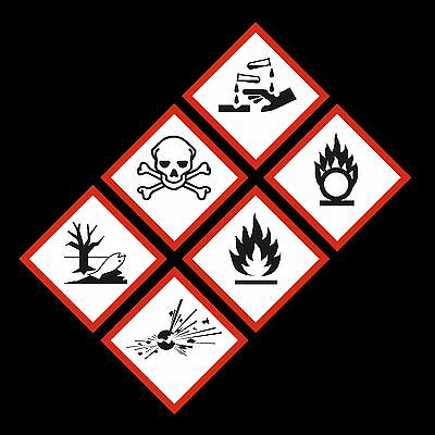 GHS Hazard Warning Stickers - 50mm x 50mm - Gas, Explosive, Corrosive, Flammable
