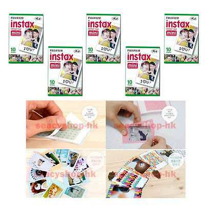 50 Pcs Fuji Fujifilm Instax Mini Film 5 pack Mini 9 8 Mini 25 Mini 7s