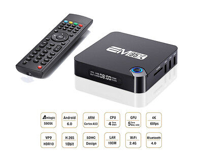 EM905X Android 6.0, Amlogic S905X 2GB+16GB Quad-core 2.4GHz WiFi, BT TV box