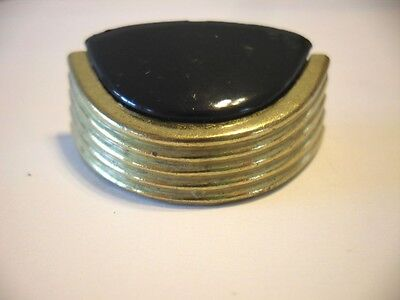 Ribbed BRASS & BLACK PLASTIC DRAWER Pulls Handles Bin Cup Style NIP