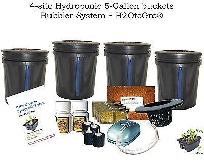 5 Gallon, 4 Site Hydroponic DWC BUCKET Bubbler System