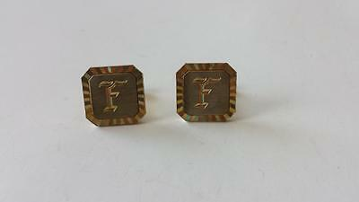 Vintage Initial Letter F Swank Cuff Links Gold Tone