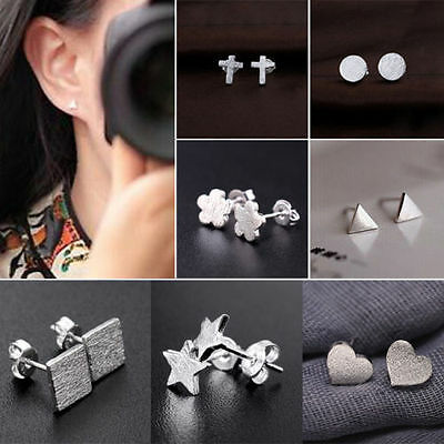 New Fashion Lady Frosted Heart Star 925 Sterling Silver Ear Stud Earrings Gift