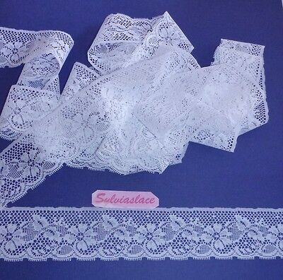 10   metres of   Pretty Soft  White Flat  Lace    Ideal for Nursery 45 mm   wide