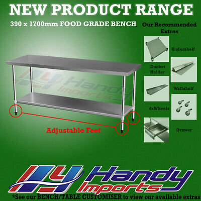 1700 x 390mm NEW STAINLESS STEEL 430 WORK BENCH KITCHEN FOOD PREP CATERING TABLE