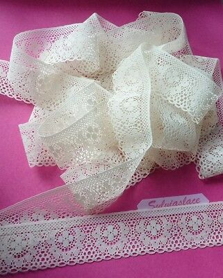 10 metres of   Cream  Flat  Lace  Antique Look       4  cm wide